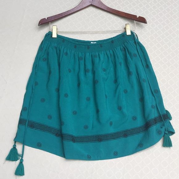 LOFT Dresses & Skirts - LOFT Dark Emerald Embroidered Gathered Skirt.1890